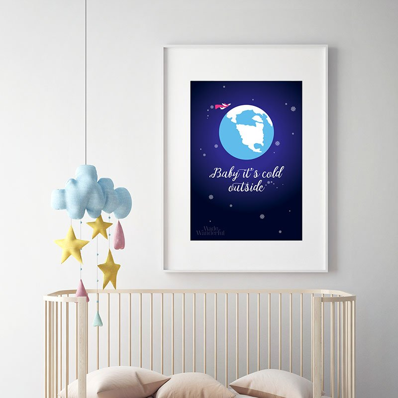 Baby It S Cold Outside Airplane Nursery Wall Art Print Made Wanderful