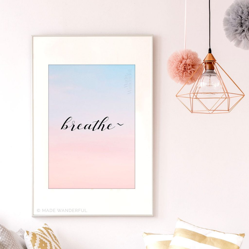 Breathe • mindfulness pranayama art print • Made Wanderful