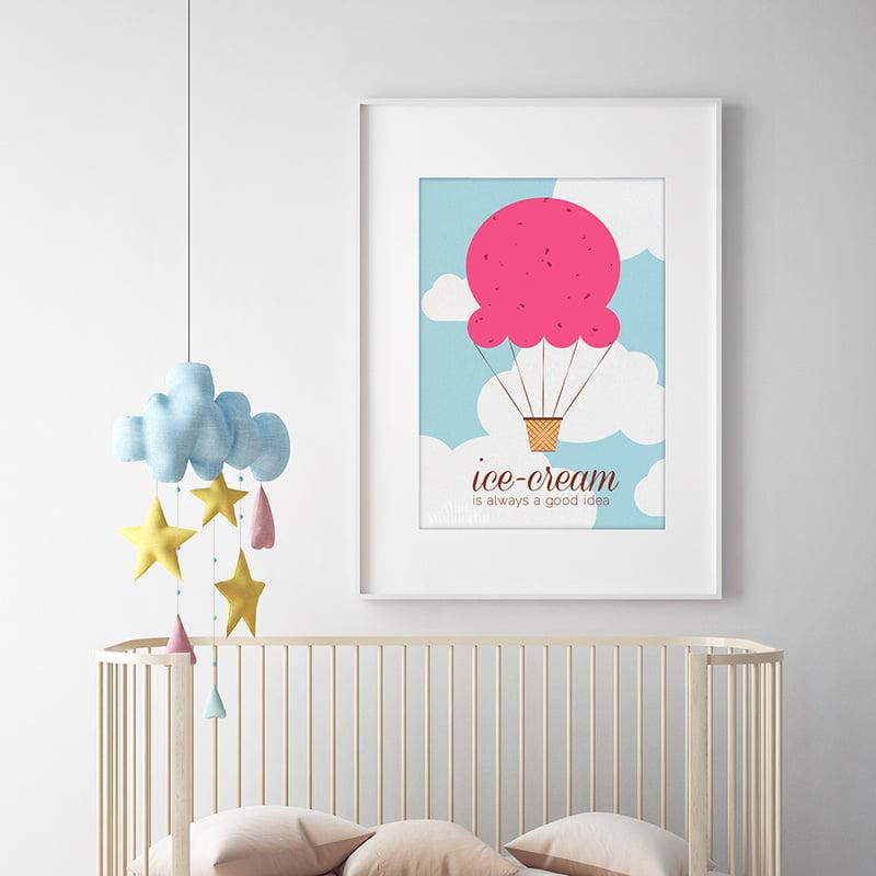 ice cream is always a good idea nursery wall art print made