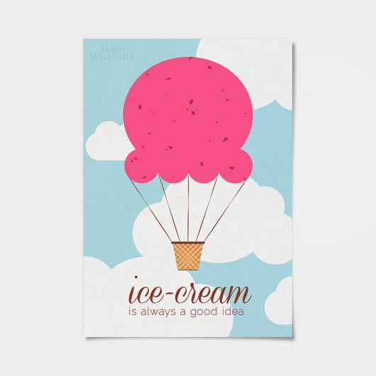Ice Cream Wall Art Print | Scoop Ice-cream Hot Air Balloon • Made Wanderful