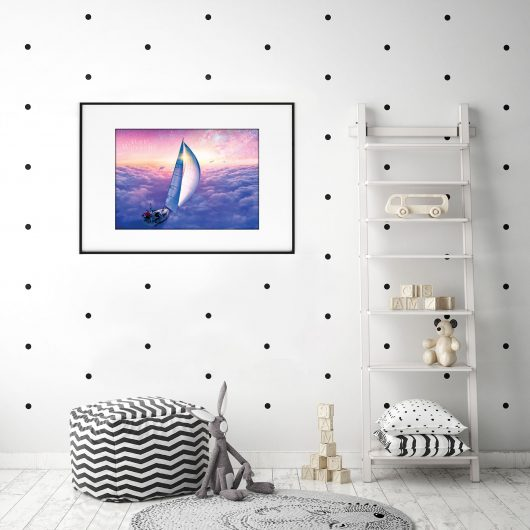 Imaginative sky ship & dolphins creative art print • Made Wanderful