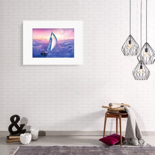 Imaginative sky ship & dolphins creative art print • Made Wanderful