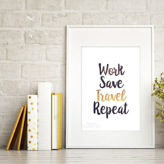 Work Save Travel Repeat | Art print for home office or corporate office • Made Wanderful