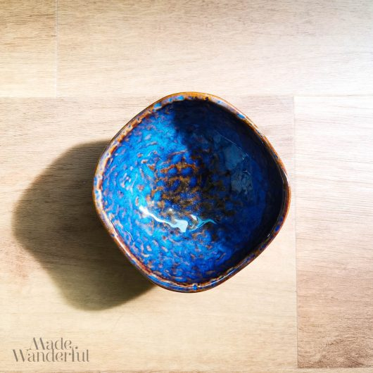 Blue-Marbled Ceramic saucer • Made Wanderful