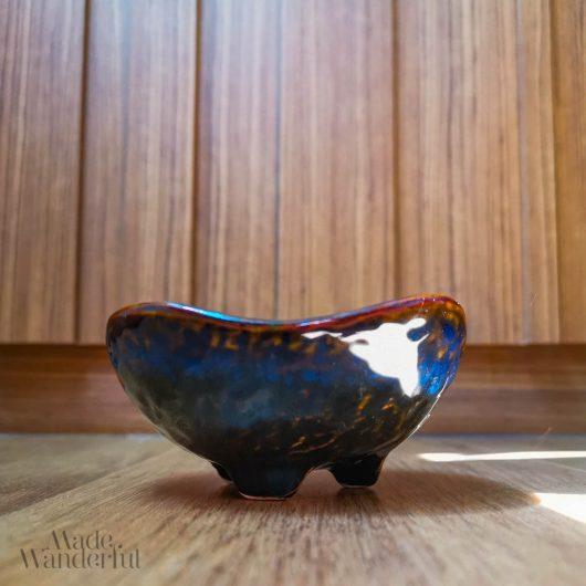 Blue-Marbled Ceramic saucer • Made Wanderful